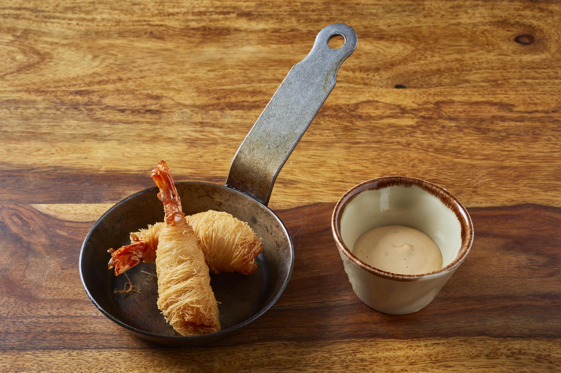 Krevety v kadaif nudlích a japonská majonéza