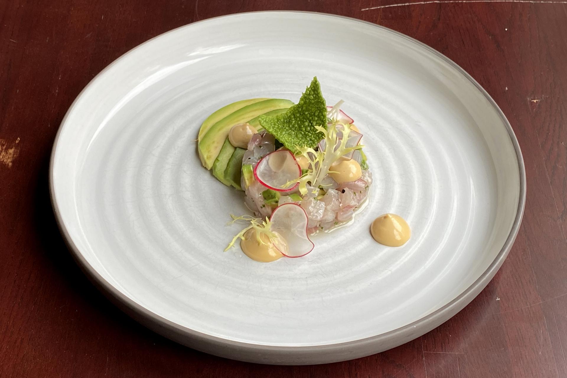 Tartar z vlka, avokádo, japonský krém a ředkvičky